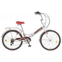 Велосипед NOVATRACK 24'', FS белый, скл,  6-ск, красный