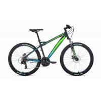 Велосипед FORWARD FLASH 2.2 disc 21ск, 17'' серый мат/ярк.зеленый(2021)