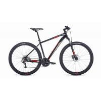 Велосипед FORWARD APACHE 2.2 disc 21ск, 19'' черный/красный(2021)