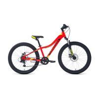 Велосипед FORWARD TWISTER 2.2 disk 7ск, 12'' красный/ярко-зеленый(2021)