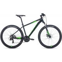 Велосипед FORWARD APACHE 2.2 SHIMANO disc 21ск. 19'' чер. мат./ярко-зеленый (2021)
