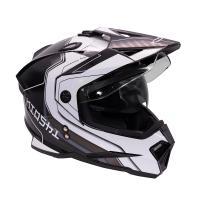 Шлем (мотард) KIOSHI Fighter 802 с очками Черный/белый S